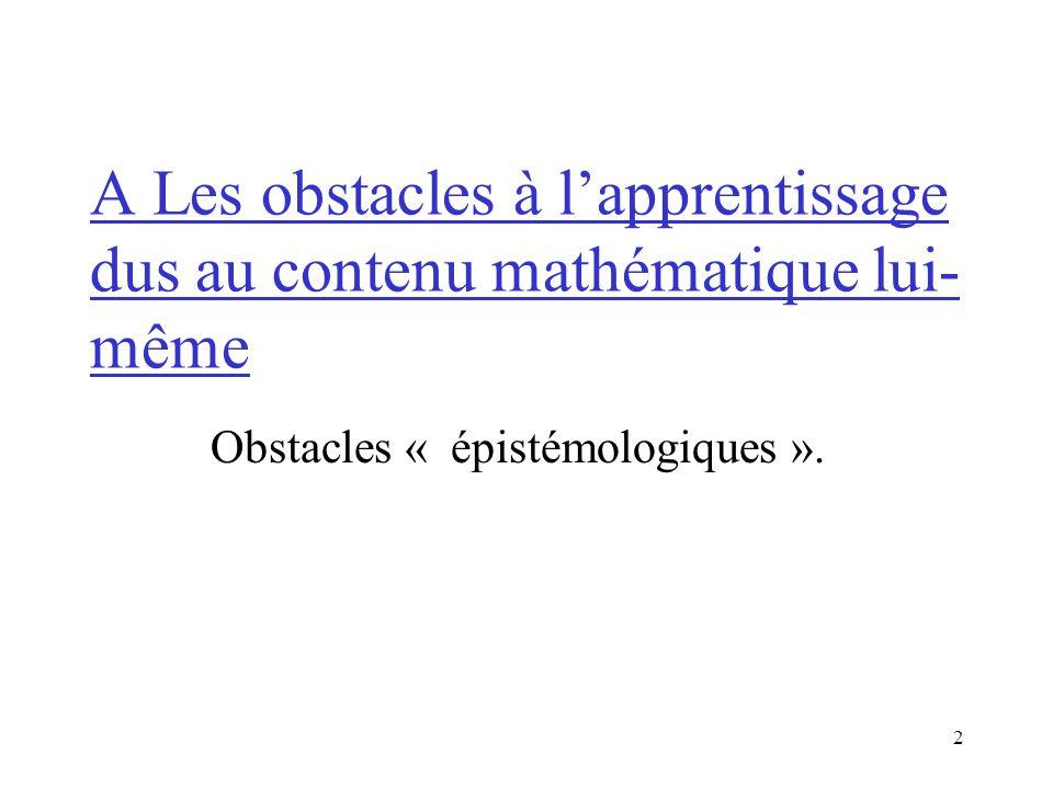 2 A Les obstacles à lapprentissage dus au contenu mathématique lui- même Obstacles « épistémologiques ».