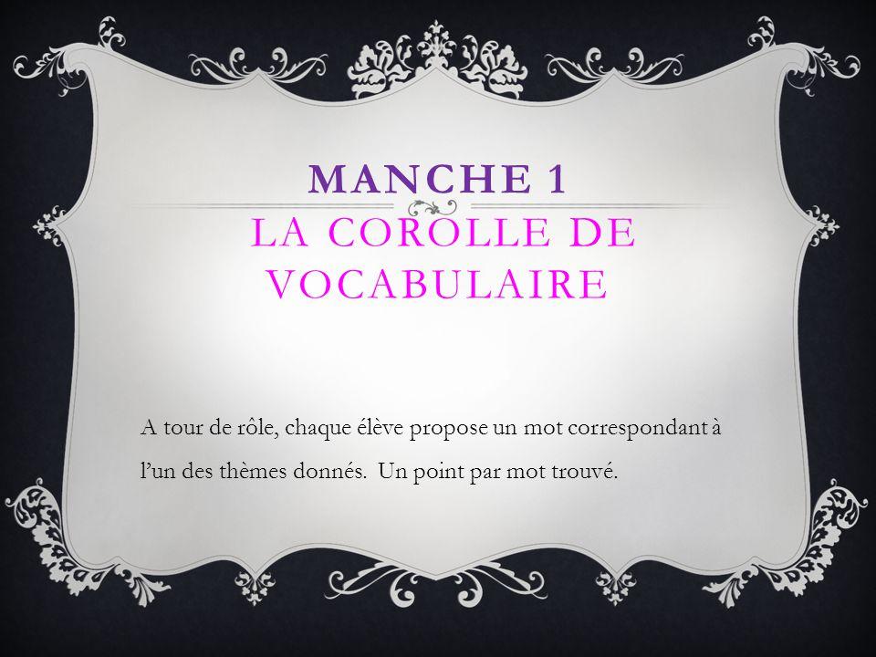MANCHE 1 LA COROLLE DE VOCABULAIRE A tour de rôle, chaque élève propose un mot correspondant à lun des thèmes donnés. Un point par mot trouvé.
