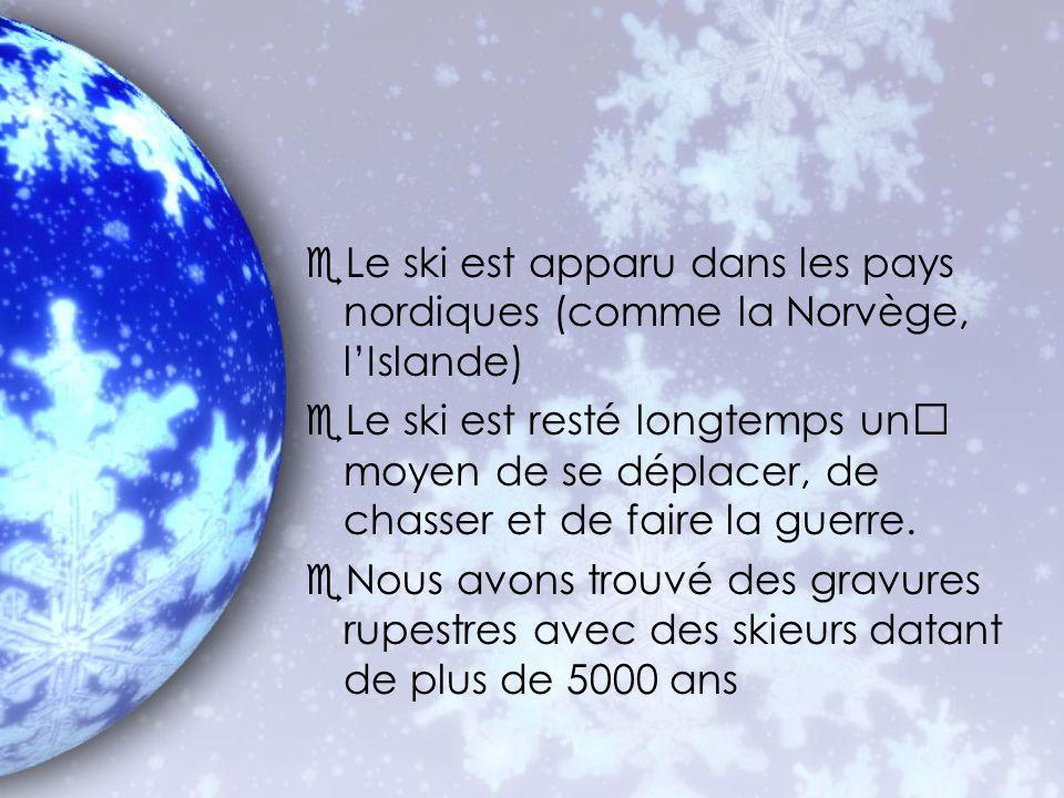 eLe ski est apparu dans les pays nordiques (comme la Norvège, lIslande) eLe ski est resté longtemps un moyen de se déplacer, de chasser et de faire la