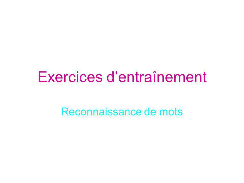 Exercices dentraînement Reconnaissance de mots