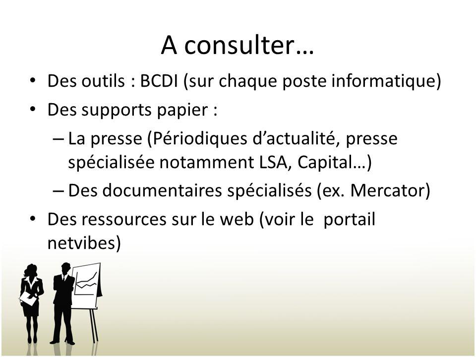 A consulter… Des outils : BCDI (sur chaque poste informatique) Des supports papier : – La presse (Périodiques dactualité, presse spécialisée notamment LSA, Capital…) – Des documentaires spécialisés (ex.