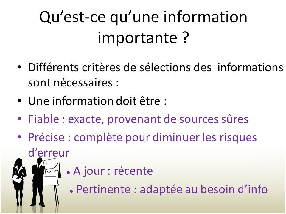 Quest-ce quune information importante .