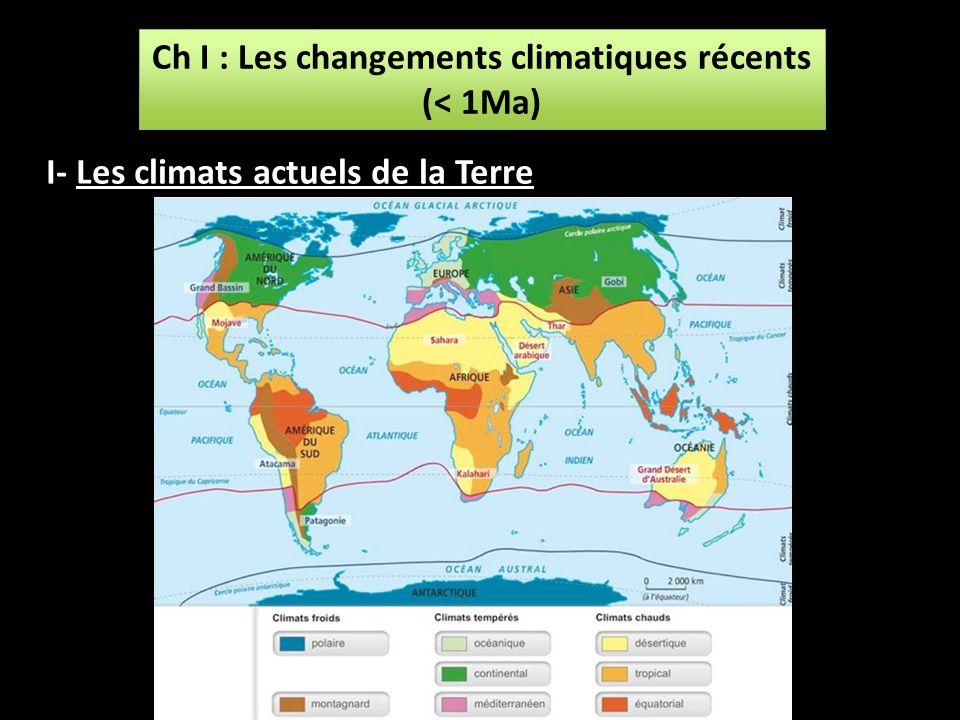 Ch I : Les changements climatiques récents (< 1Ma) Ch I : Les changements climatiques récents (< 1Ma) I- Les climats actuels de la Terre