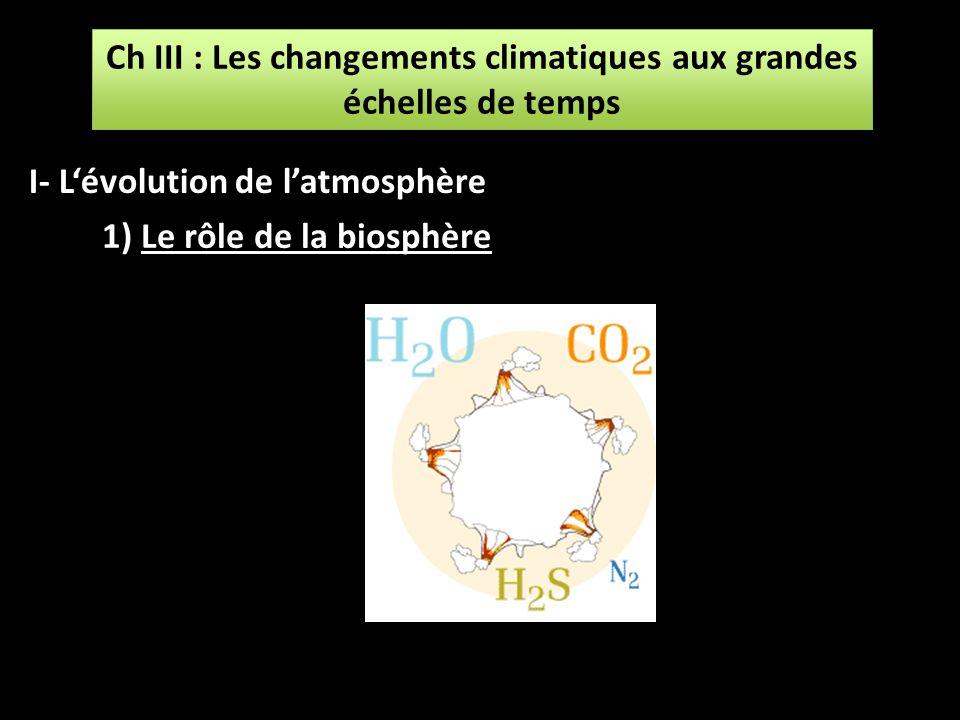 Ch III : Les changements climatiques aux grandes échelles de temps Ch III : Les changements climatiques aux grandes échelles de temps 1) Le rôle de la
