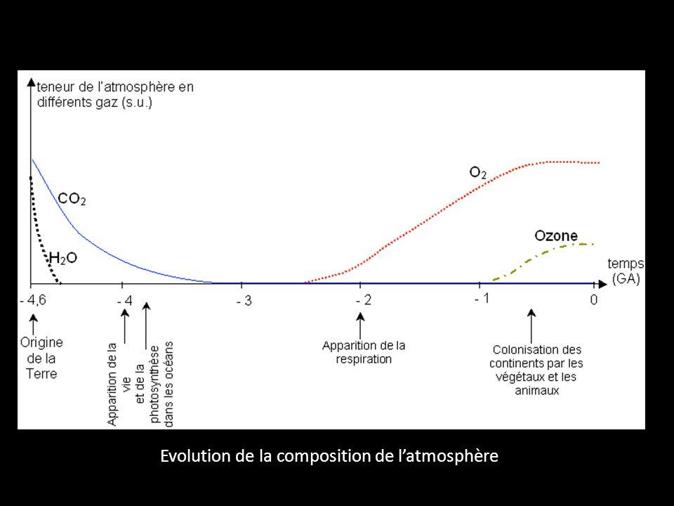 Evolution de la composition de latmosphère