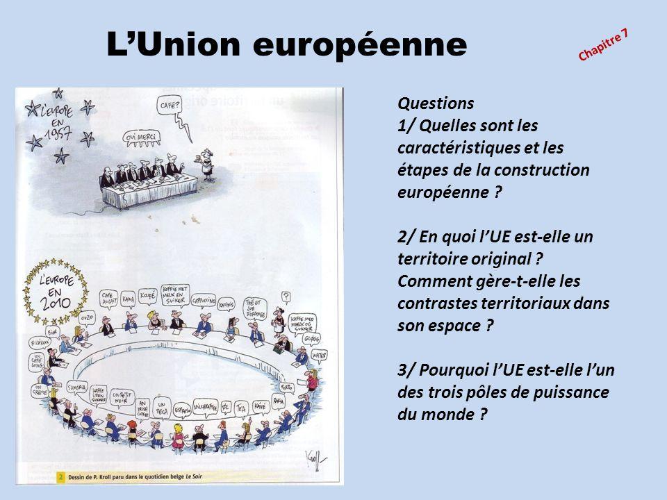 Chapitre 7 LUnion européenne Questions 1/ Quelles sont les caractéristiques et les étapes de la construction européenne ? 2/ En quoi lUE est-elle un t