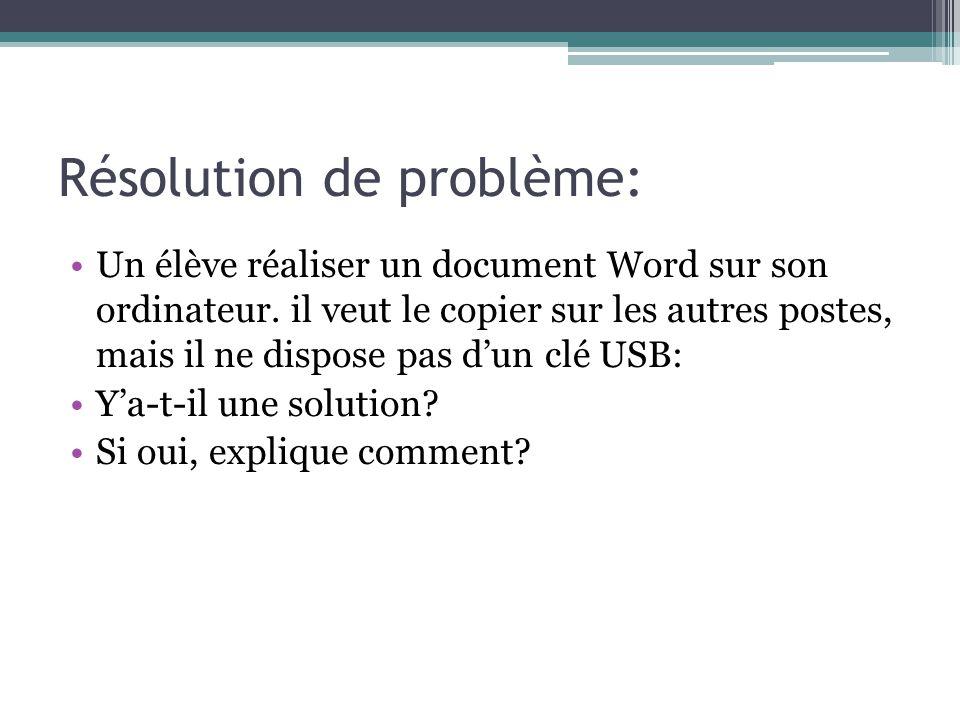 Résolution de problème: Un élève réaliser un document Word sur son ordinateur. il veut le copier sur les autres postes, mais il ne dispose pas dun clé