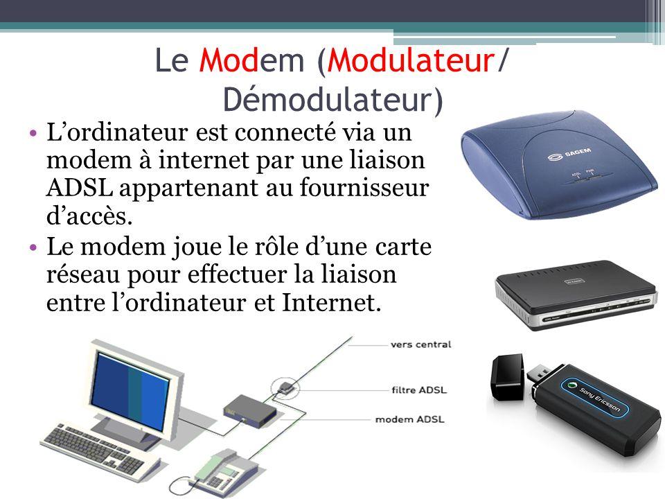 Le Modem (Modulateur/ Démodulateur) Lordinateur est connecté via un modem à internet par une liaison ADSL appartenant au fournisseur daccès. Le modem