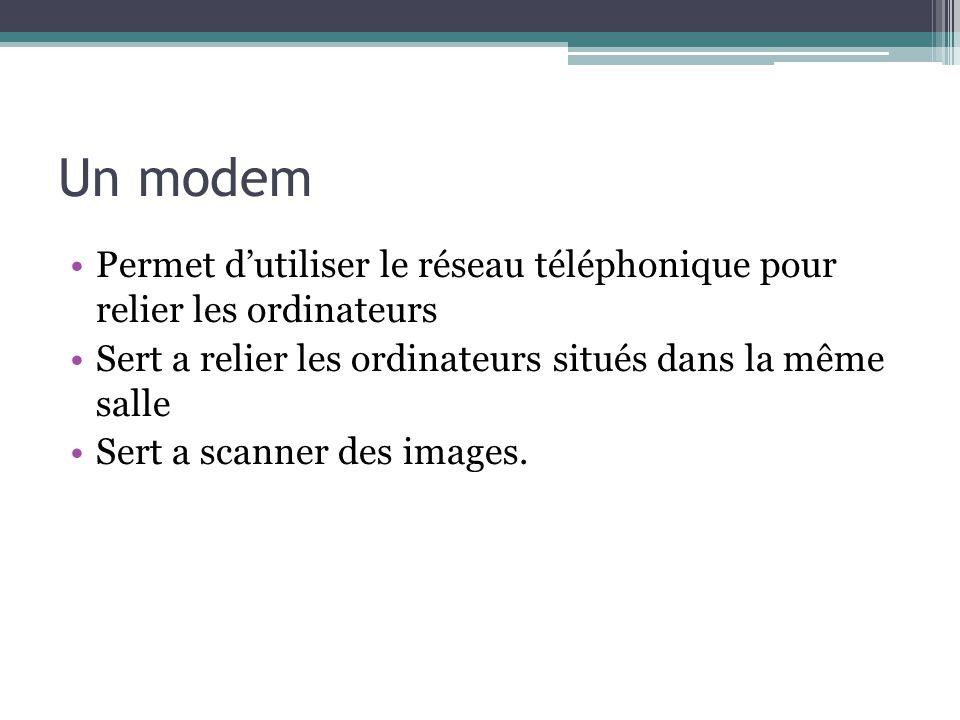 Un modem Permet dutiliser le réseau téléphonique pour relier les ordinateurs Sert a relier les ordinateurs situés dans la même salle Sert a scanner de