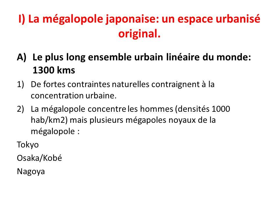 I) La mégalopole japonaise: un espace urbanisé original. A)Le plus long ensemble urbain linéaire du monde: 1300 kms 1)De fortes contraintes naturelles
