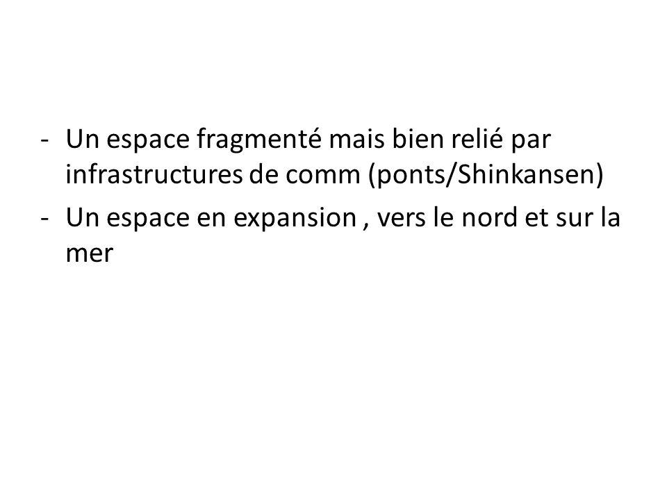 -Un espace fragmenté mais bien relié par infrastructures de comm (ponts/Shinkansen) -Un espace en expansion, vers le nord et sur la mer