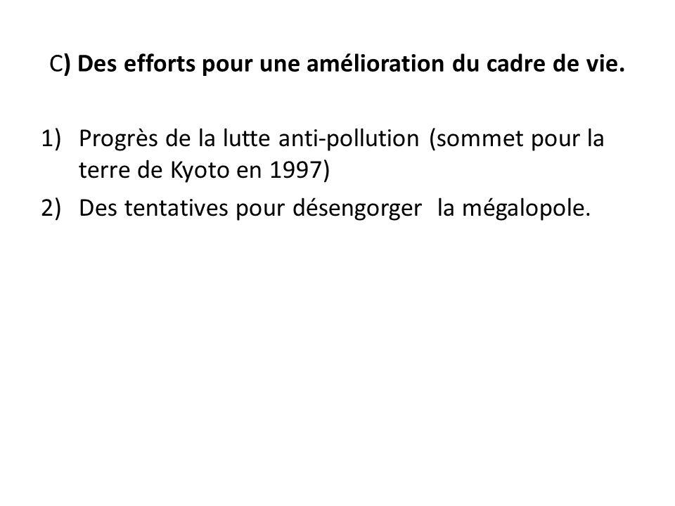 C) Des efforts pour une amélioration du cadre de vie. 1)Progrès de la lutte anti-pollution (sommet pour la terre de Kyoto en 1997) 2)Des tentatives po