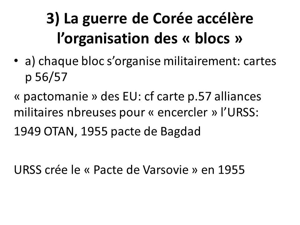 3) La guerre de Corée accélère lorganisation des « blocs » a) chaque bloc sorganise militairement: cartes p 56/57 « pactomanie » des EU: cf carte p.57