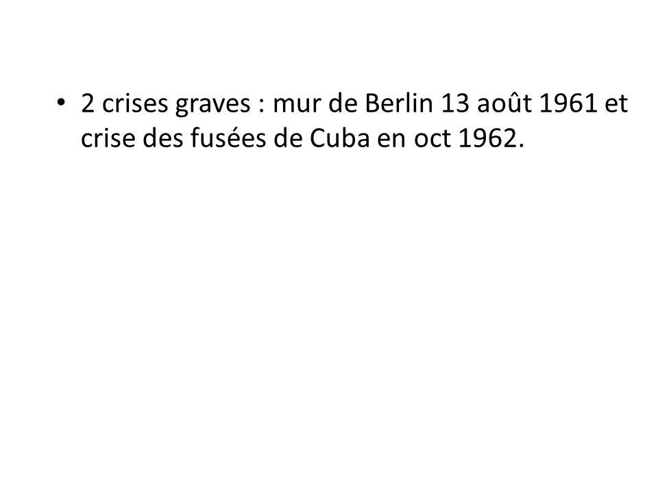 2 crises graves : mur de Berlin 13 août 1961 et crise des fusées de Cuba en oct 1962.