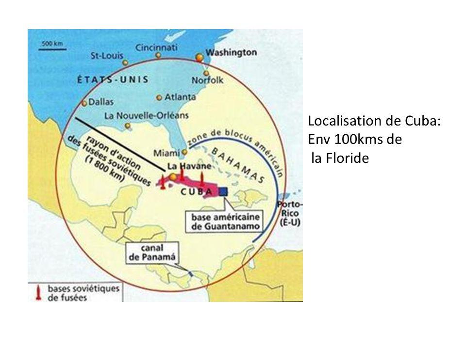 Localisation de Cuba: Env 100kms de la Floride