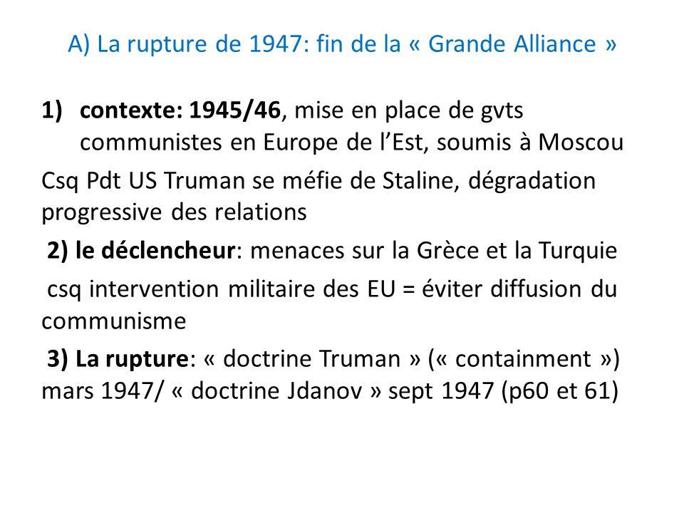 A) La rupture de 1947: fin de la « Grande Alliance » 1)contexte: 1945/46, mise en place de gvts communistes en Europe de lEst, soumis à Moscou Csq Pdt
