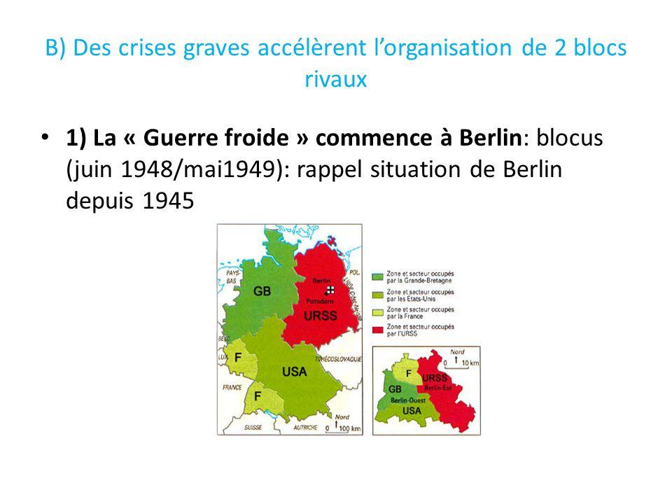 B) Des crises graves accélèrent lorganisation de 2 blocs rivaux 1) La « Guerre froide » commence à Berlin: blocus (juin 1948/mai1949): rappel situatio