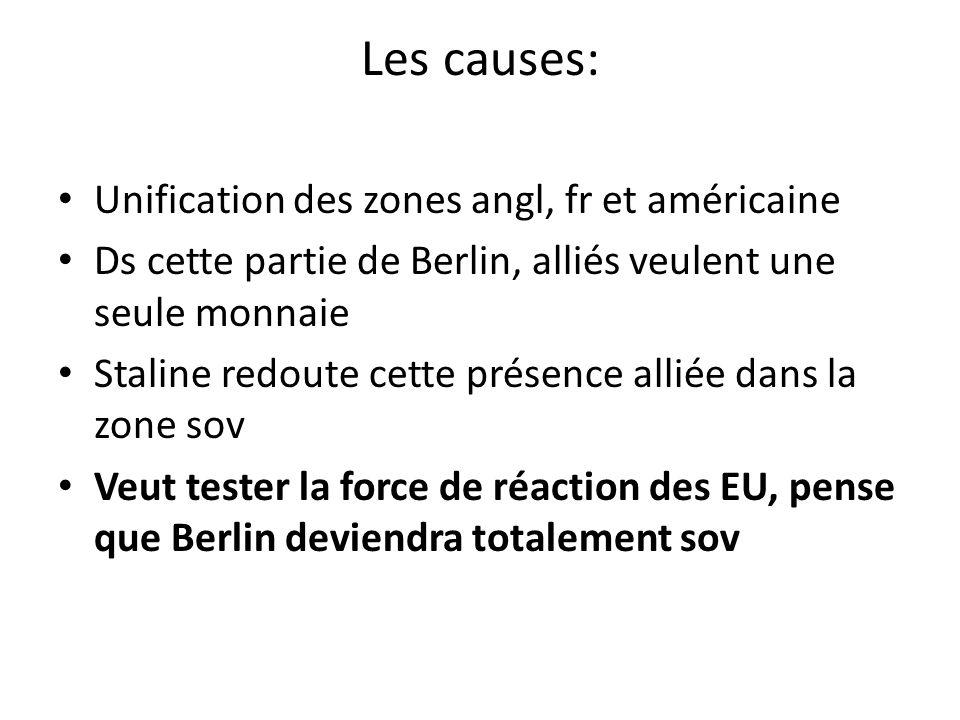 Les causes: Unification des zones angl, fr et américaine Ds cette partie de Berlin, alliés veulent une seule monnaie Staline redoute cette présence al