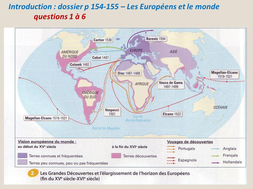 Introduction : dossier p 154-155 – Les Européens et le monde questions 1 à 6