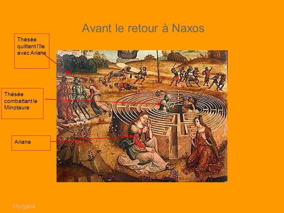 Avant le retour à Naxos ajouter une image avec Ariane et le labyrinthe ex : peinture de Cassoni Campana) Fléches sur Thésée et Ariane et le Minotaure