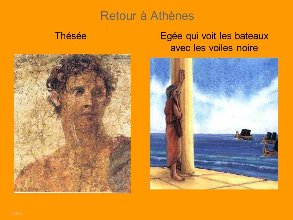 Retour à Athènes Chloé ThéséeEgée qui voit les bateaux avec les voiles noire