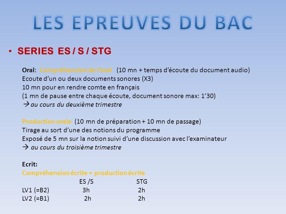 SERIES ES / S / STG Oral: Compréhension de loral (10 mn + temps découte du document audio) Ecoute dun ou deux documents sonores (X3) 10 mn pour en ren