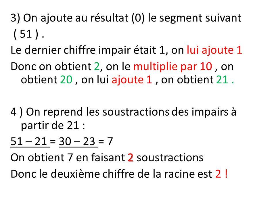 3) On ajoute au résultat (0) le segment suivant ( 51 ). Le dernier chiffre impair était 1, on lui ajoute 1 Donc on obtient 2, on le multiplie par 10,