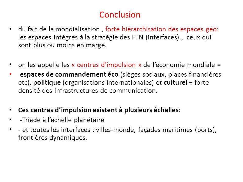 Conclusion du fait de la mondialisation, forte hiérarchisation des espaces géo: les espaces intégrés à la stratégie des FTN (interfaces), ceux qui son