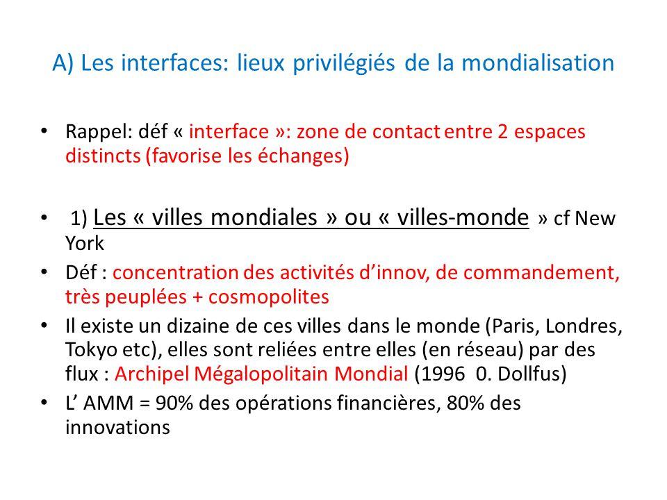 A) Les interfaces: lieux privilégiés de la mondialisation Rappel: déf « interface »: zone de contact entre 2 espaces distincts (favorise les échanges)
