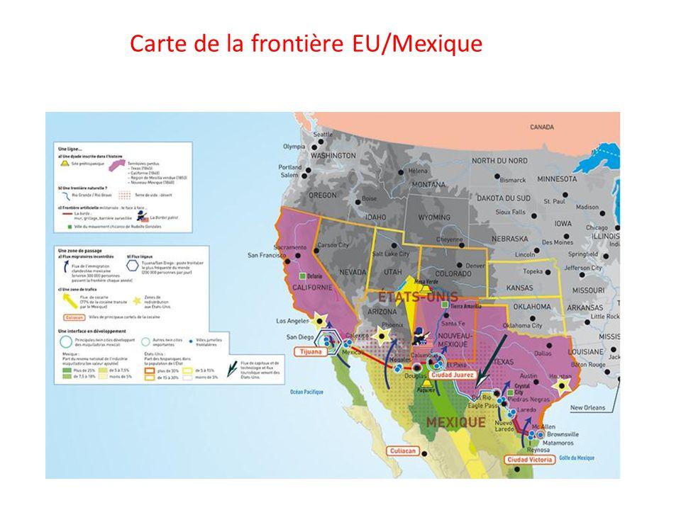 Carte de la frontière EU/Mexique
