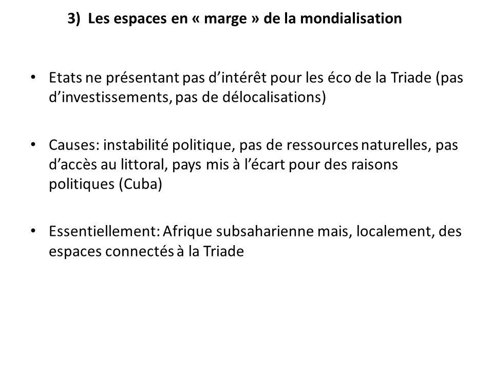 3) Les espaces en « marge » de la mondialisation Etats ne présentant pas dintérêt pour les éco de la Triade (pas dinvestissements, pas de délocalisati