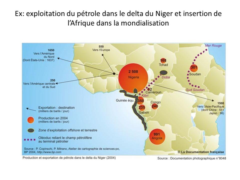Ex delta du Niger: zones dexploitation et ports reliés aux façades maritimes de la Triade, Donc ces espaces ponctuels sont intégrés aux échanges, à la mondialisation Alors que le reste du pays est à lécart de ces échanges.