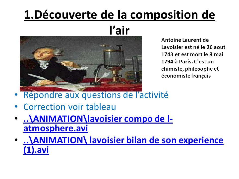 1.Découverte de la composition de lair 1. Activité expérience de Lavoisier Répondre aux questions de lactivité Correction voir tableau..\ANIMATION\lav