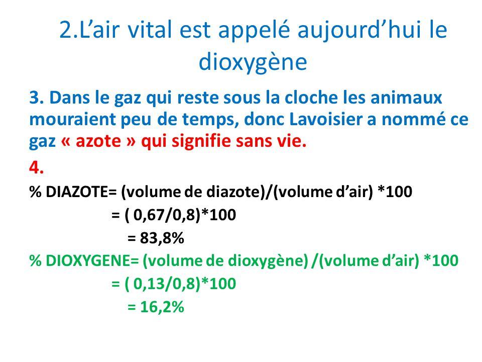 2.Lair vital est appelé aujourdhui le dioxygène 3. Dans le gaz qui reste sous la cloche les animaux mouraient peu de temps, donc Lavoisier a nommé ce