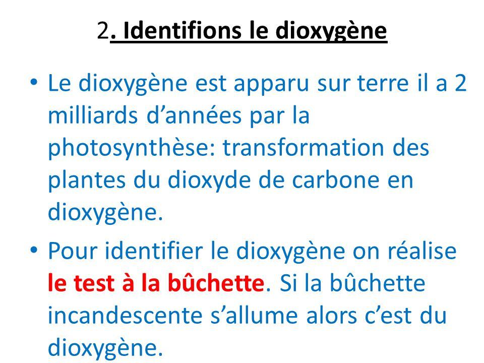 2. Identifions le dioxygène Le dioxygène est apparu sur terre il a 2 milliards dannées par la photosynthèse: transformation des plantes du dioxyde de