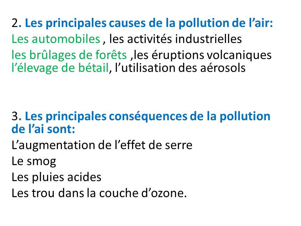 2. Les principales causes de la pollution de lair: Les automobiles, les activités industrielles les brûlages de forêts,les éruptions volcaniques lélev