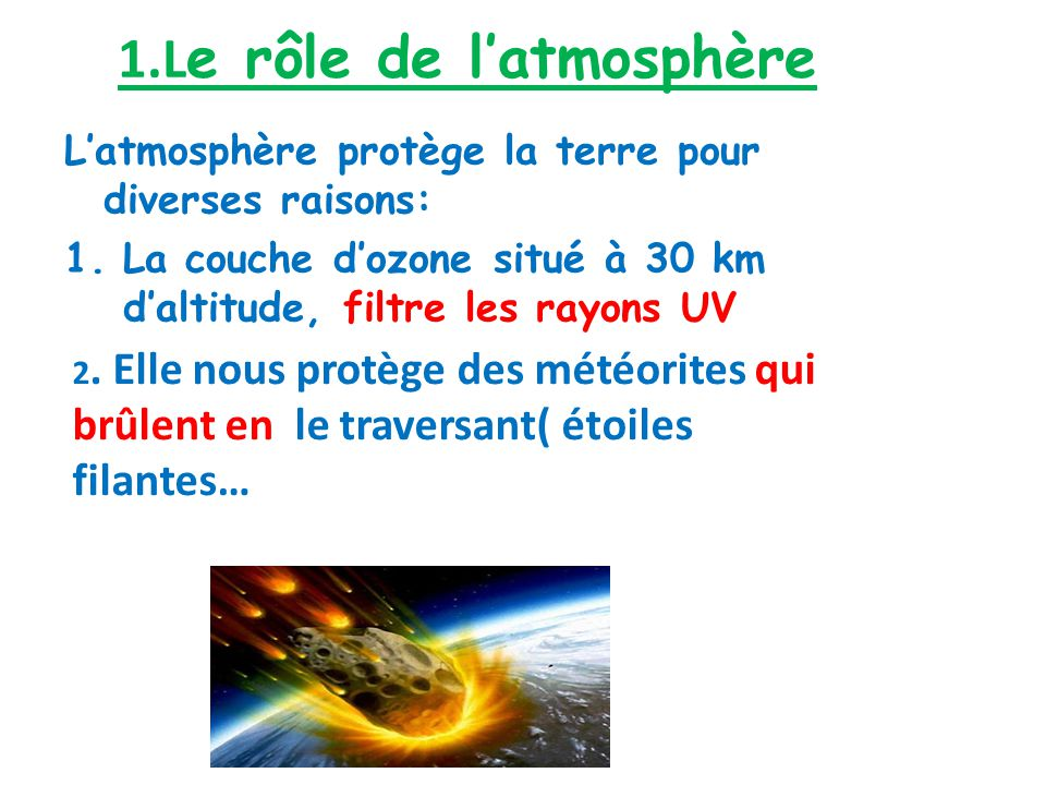 1.L e rôle de latmosphère Latmosphère protège la terre pour diverses raisons: 1.La couche dozone situé à 30 km daltitude, filtre les rayons UV 2. Elle