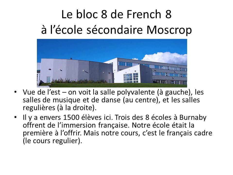 Le bloc 8 de French 8 à lécole sécondaire Moscrop Vue de lest – on voit la salle polyvalente (à gauche), les salles de musique et de danse (au centre), et les salles regulières (à la droite).