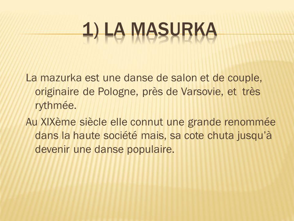 La mazurka est une danse de salon et de couple, originaire de Pologne, près de Varsovie, et très rythmée. Au XIXème siècle elle connut une grande reno