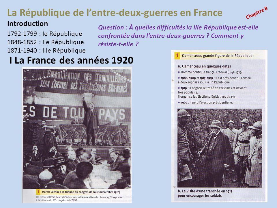 La République de lentre-deux-guerres en France Chapitre 8 Introduction 1792-1799 : Ie République 1848-1852 : IIe République 1871-1940 : IIIe Républiqu
