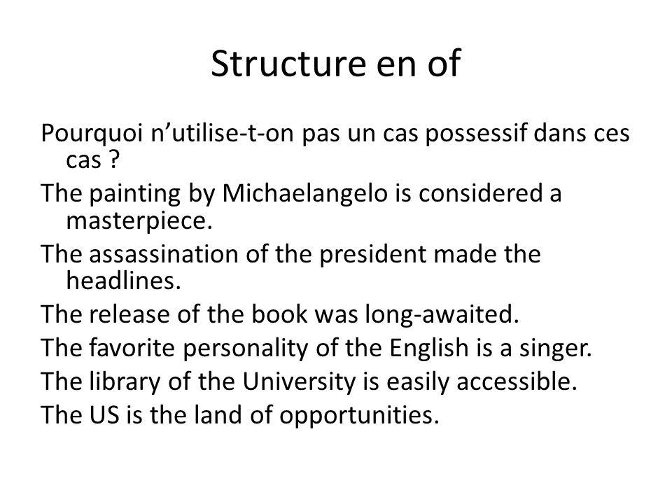 Structure en of Pourquoi nutilise-t-on pas un cas possessif dans ces cas .