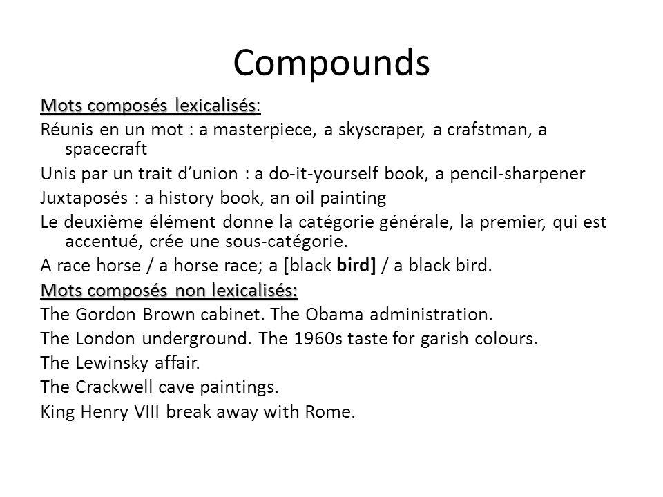 Compounds Mots composés lexicalisés Mots composés lexicalisés: Réunis en un mot : a masterpiece, a skyscraper, a crafstman, a spacecraft Unis par un t