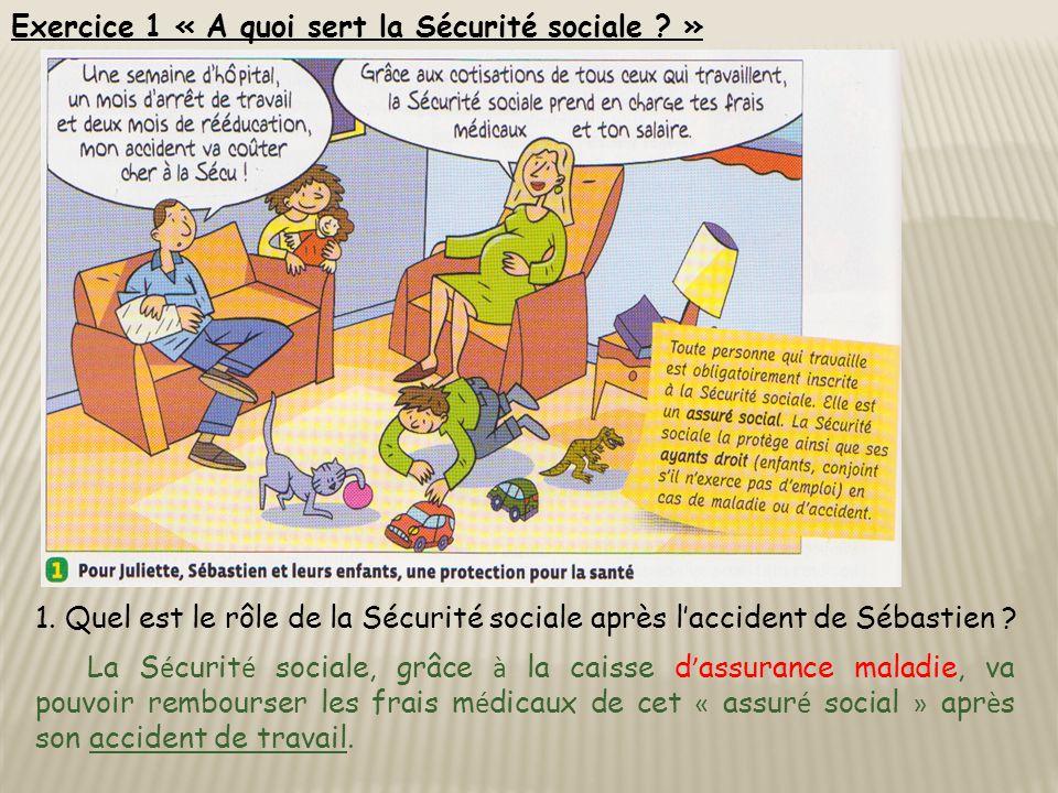 Exercice 1 « A quoi sert la Sécurité sociale . » 1.