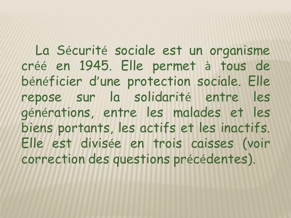 La S é curit é sociale est un organisme cr éé en 1945.