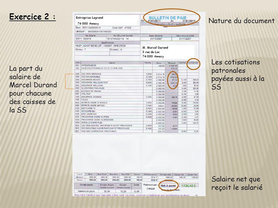 Exercice 2 : Nature du document Salaire net que reçoit le salarié La part du salaire de Marcel Durand pour chacune des caisses de la SS Les cotisations patronales payées aussi à la SS