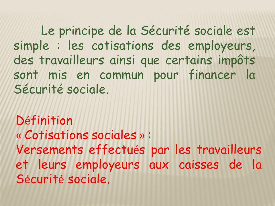 Le principe de la Sécurité sociale est simple : les cotisations des employeurs, des travailleurs ainsi que certains impôts sont mis en commun pour financer la Sécurité sociale.