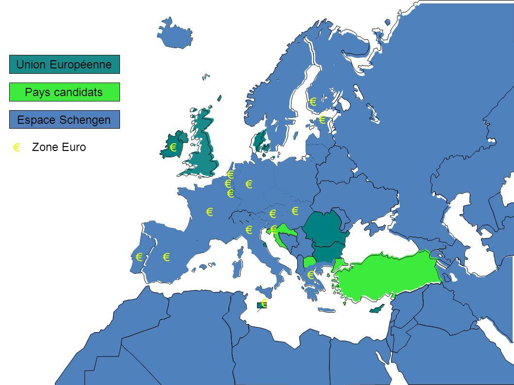 Pays candidats Espace Schengen Union Européenne Zone Euro PEV Politique Européenne de Voisinage