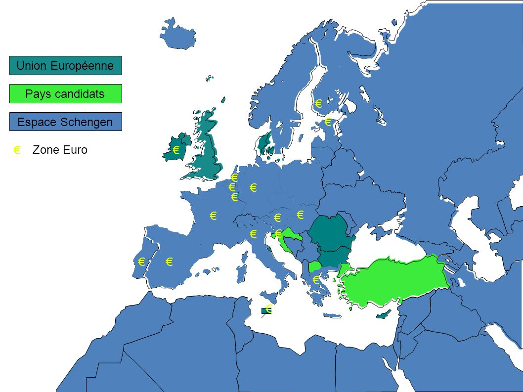Pays candidats Espace Schengen Union Européenne Zone Euro