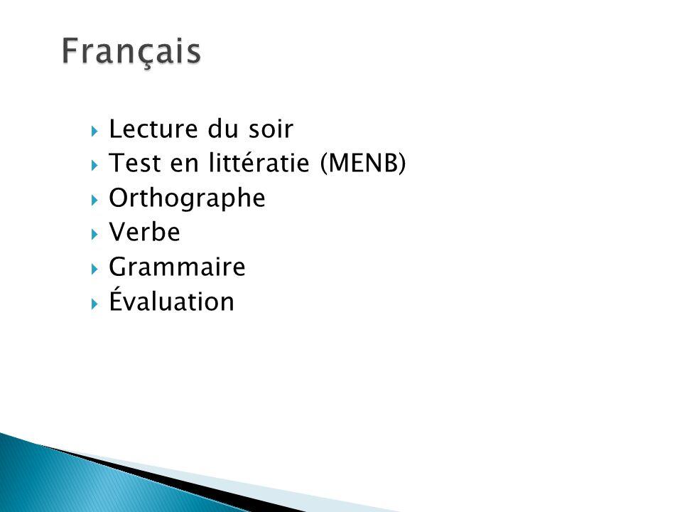 Lecture du soir Test en littératie (MENB) Orthographe Verbe Grammaire Évaluation