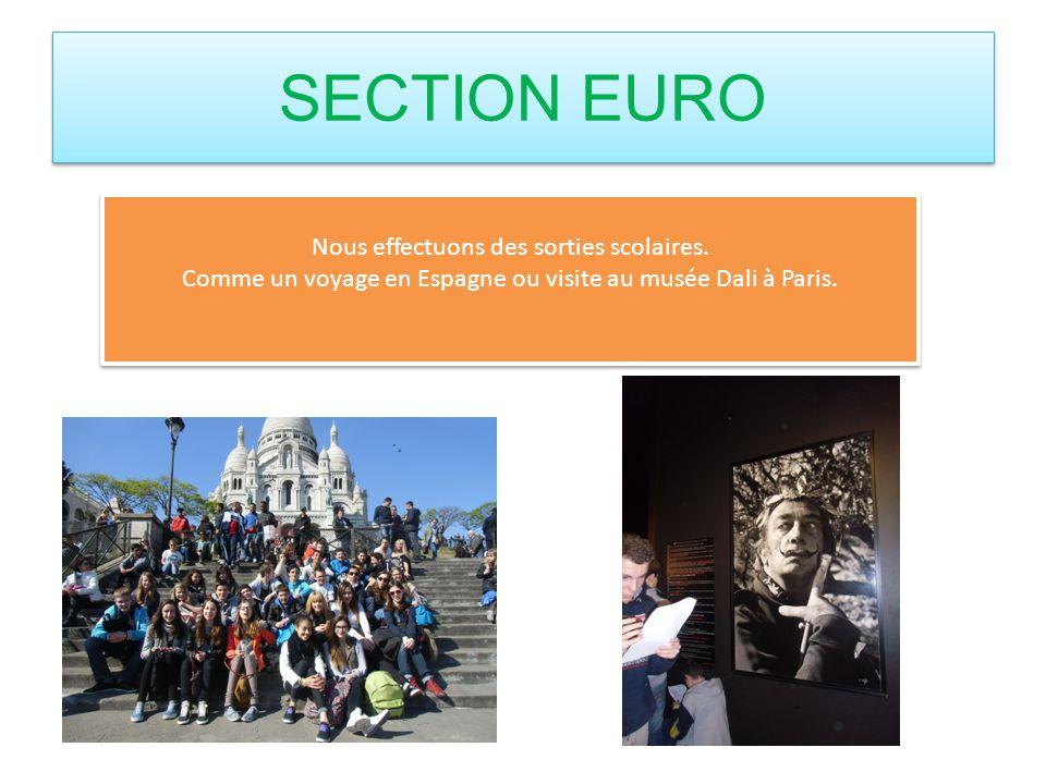 SECTION EURO Nous effectuons des sorties scolaires. Comme un voyage en Espagne ou visite au musée Dali à Paris. Nous effectuons des sorties scolaires.